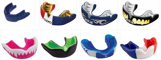 Exemples de protège-dents de la gamme OPRO et Gilbert.